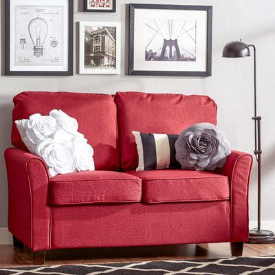Zipcode Design Aubrey Loveseat Upholstery: Red | Upholstery