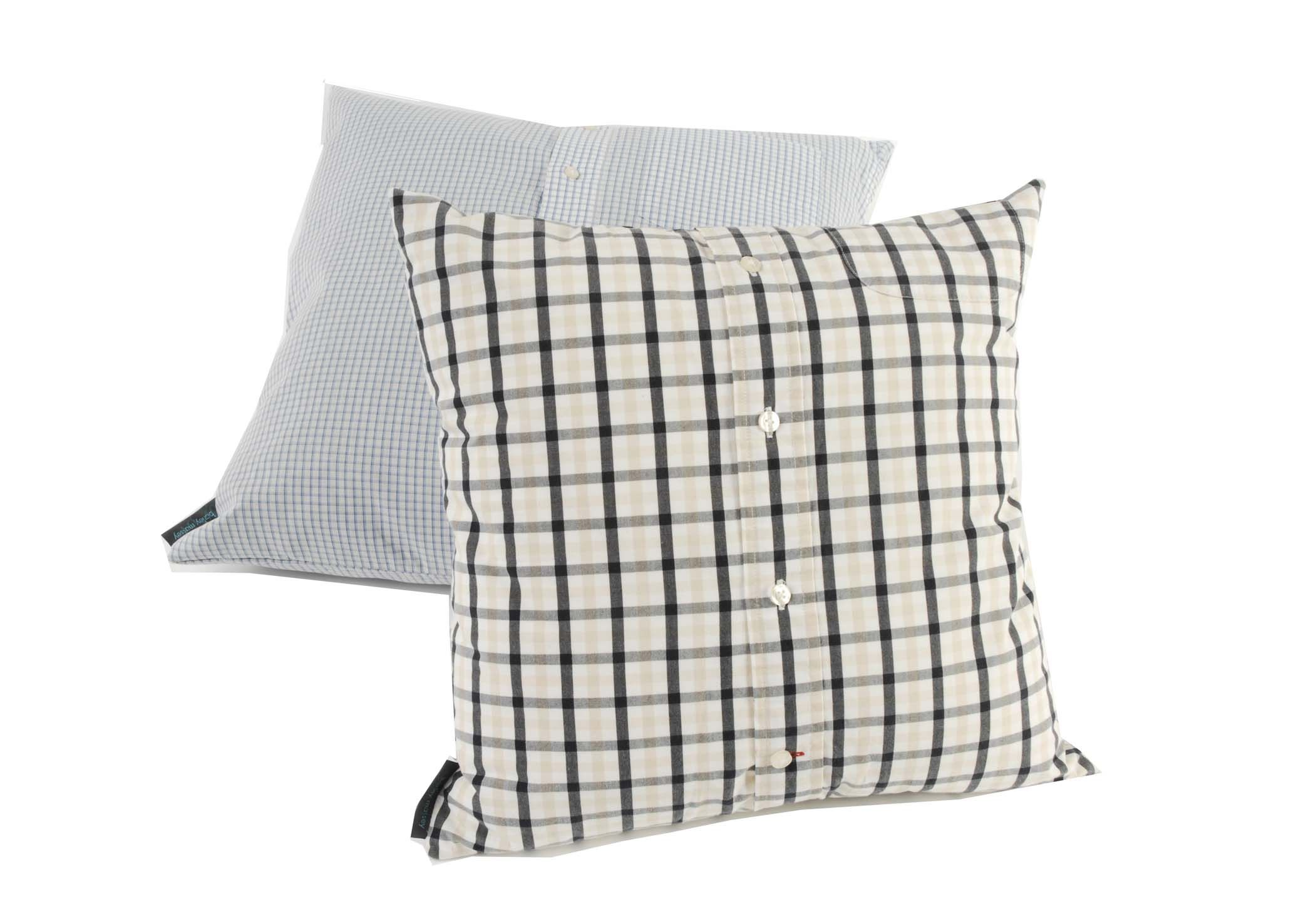 Transform your favorite shirts into cushions. These were made by Barley Massey. To commission visit http://www.fabrications1.co.uk
