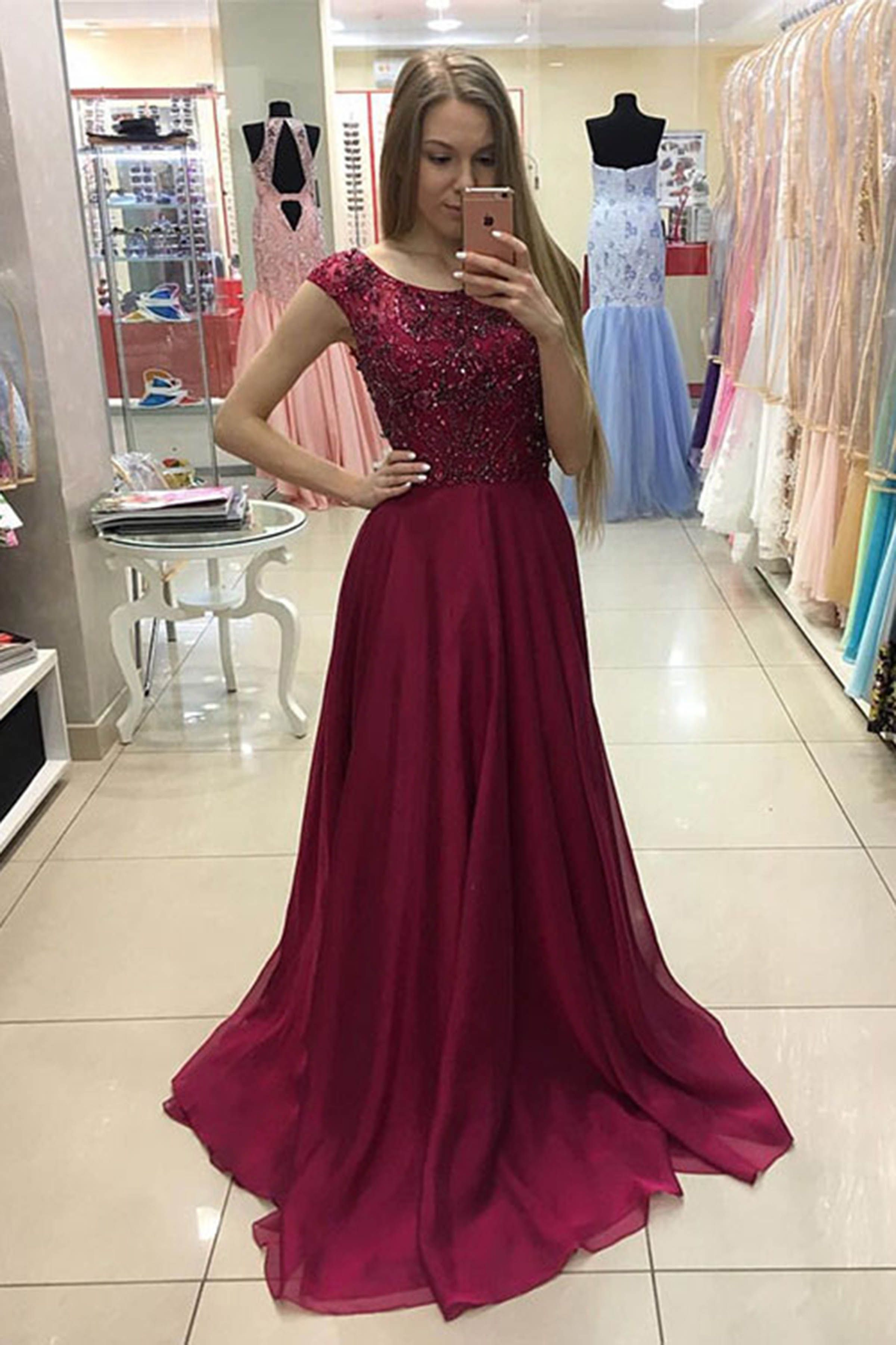 3c6b9eee8097 Crimson chiffon sequins prom dress, modest prom dress, long dress for teens