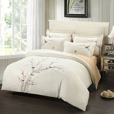 fadfay home textile embroidery birds bedding set cherry blossom embroidered duvet covers queen king size - Queen Size Duvet Cover
