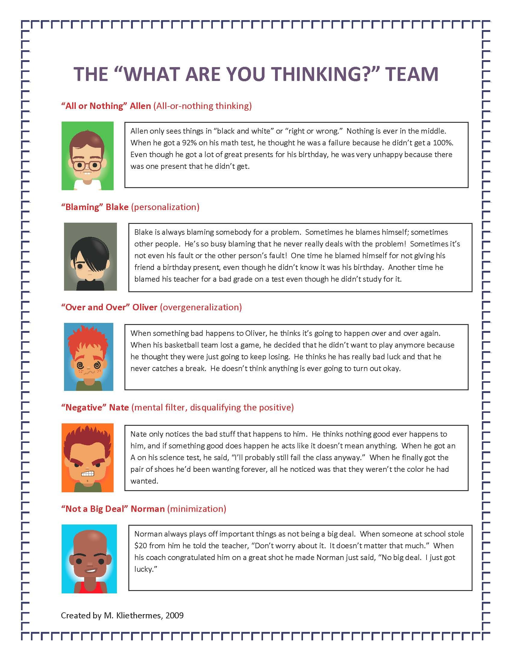 Printable Free Cognitive Distortions Worksheet Kids ...