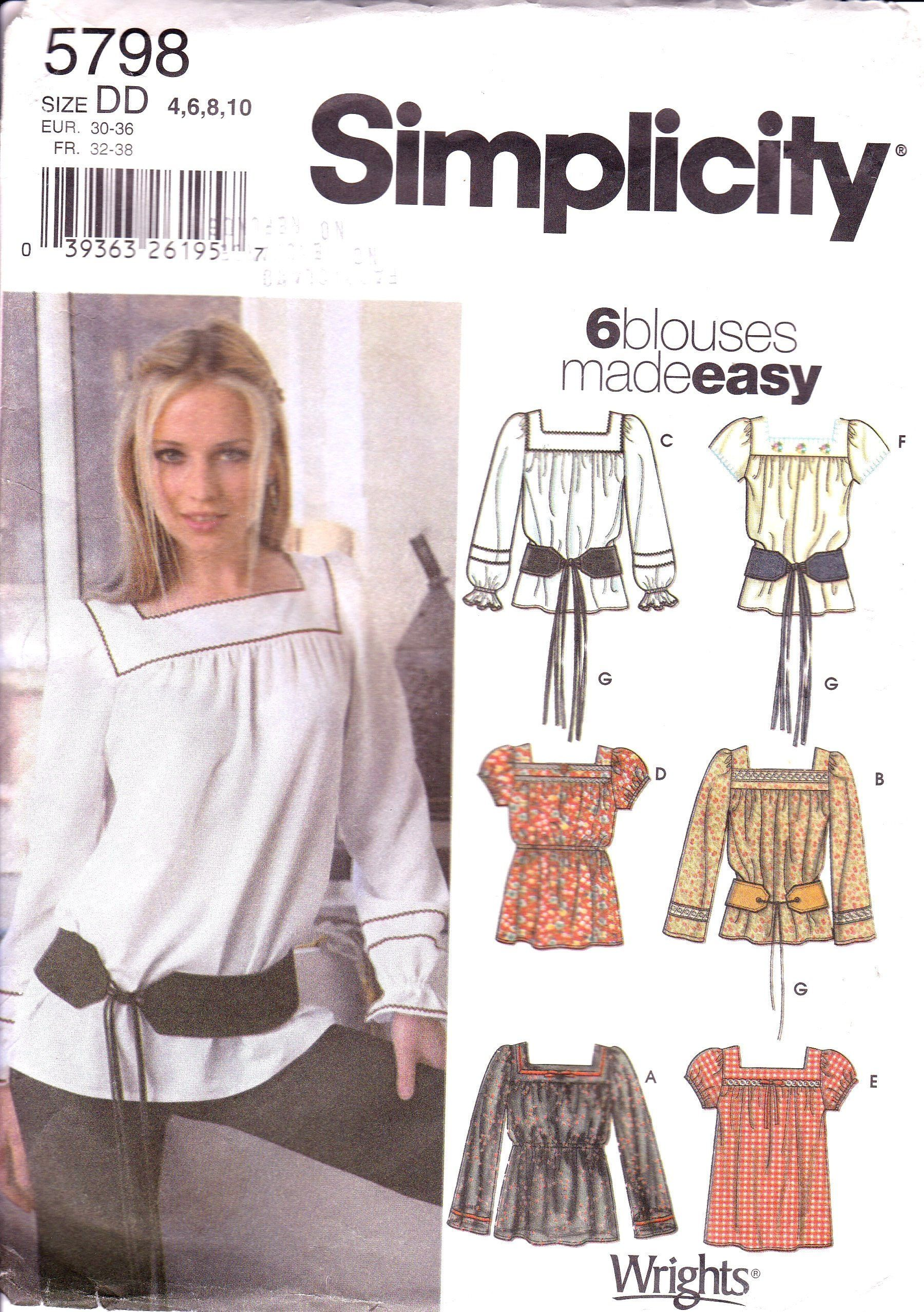 Peasant blouse fringed belt option square neck long straight or