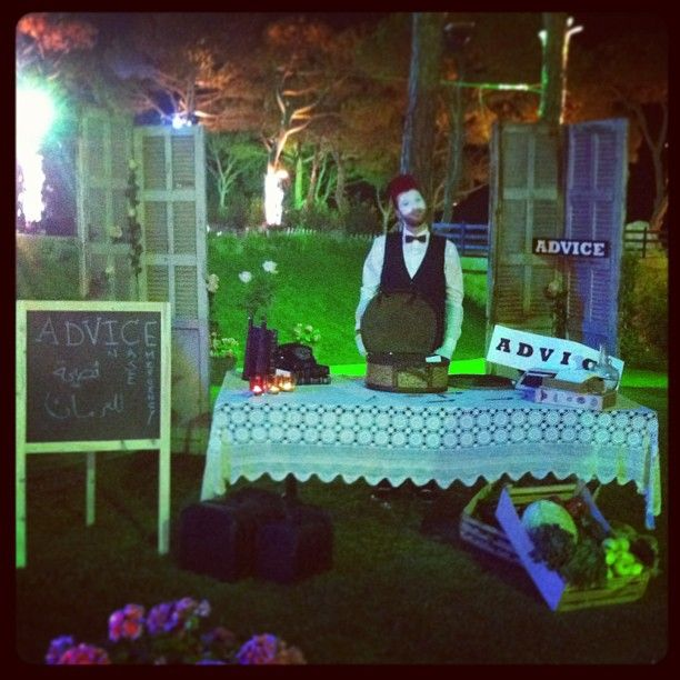 advice table.. lebanese themed wedding