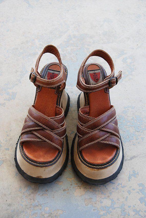 24680e5b8d3d vintage 90s Platform Shoes - 1990s London Underground Sandals Leather Wood  Platform Sandals Sz 9 9.5
