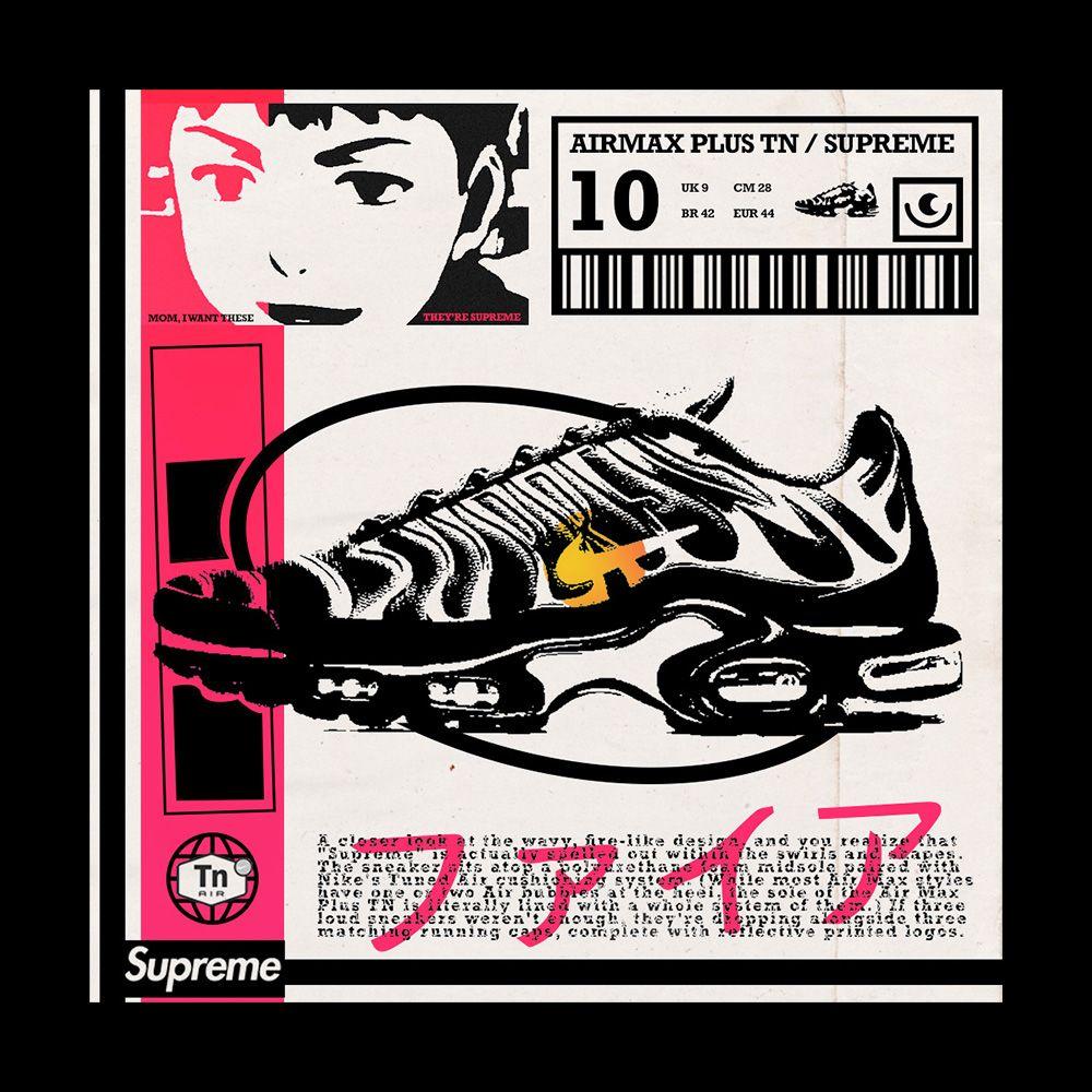 Nike Airmax Tn x Supreme Poster | Comic book cover, Book cover ...