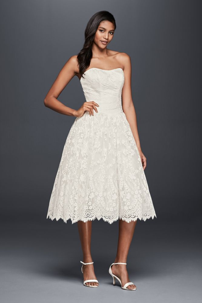 Short Lace Strapless Wedding Dress with Ruching - Ivory, 6