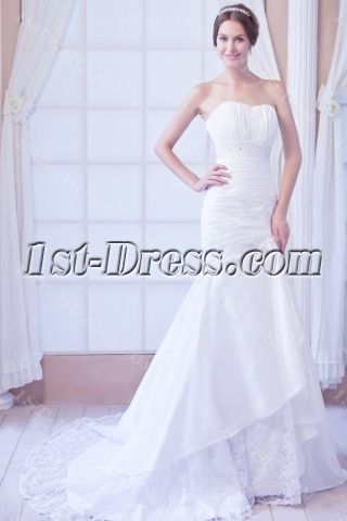 White Mermaid Taffeta Wedding Gown with Corset