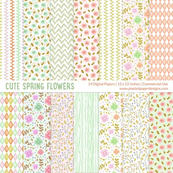 "Pastel Spring Flower Digital Paper | Cute Flowers Digital Paper ""FLORAL DIGITAL PAPER"" Digital paper for scrapbooking, card, invites, etc. Romantic, pastel, floral, foliage, with commercial use license for small business."