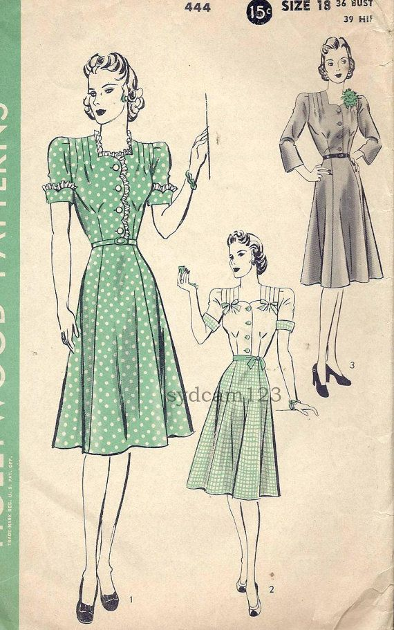 Vintage 1940 Sweetheart Neckline Shirtwaist Dress Tucked Shoulders Optional Scallop Detail H Shirtwaist Dress Vintage Dress Patterns Vintage Sewing Patterns