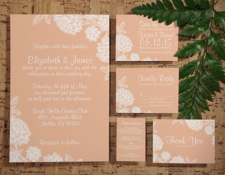 pink and gold wedding invitation kits%0A Elegant Coral Wedding Invitation Set Suite by InvitationSnob