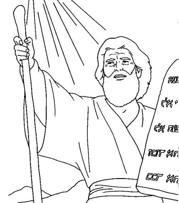 ten commandments moses receives ten commandments coloring page