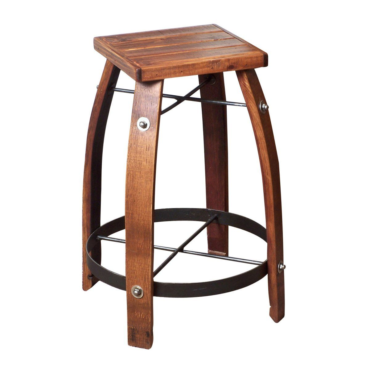 Reclaimed 28 Inch Stave Wine Barrel Bar Stool With Wood Seat