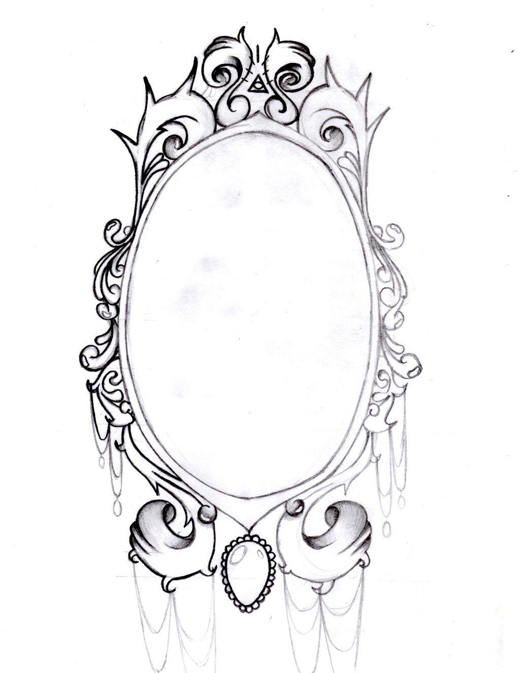 Vintage Mirror Frame By Aimstar On Deviantart Vintage Mirror Tattoo Mirror Drawings Mirror Tattoos