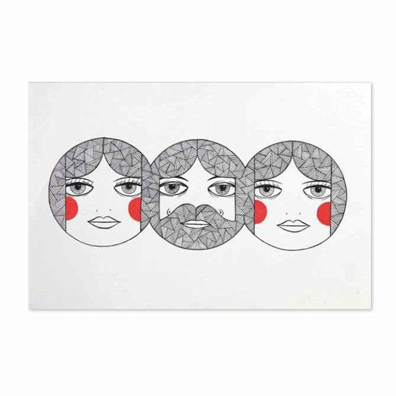 Nick Chalmers '3 heads' print