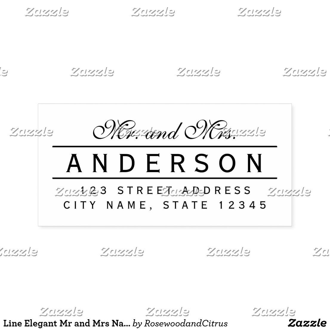 Line Elegant Mr and Mrs Name Return Address Self-inking Stamp ...