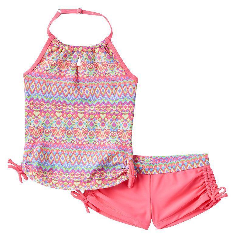 35490c8227 Girls 7-16 Free Country Batik Halter Tankini & Boy Shorts Swimsuit Set,  Size: 16, Brt Orange