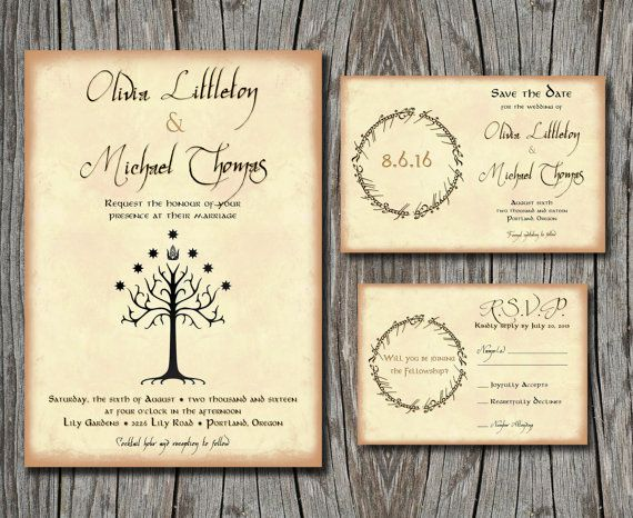 Lord Of The Rings Wedding Invitation