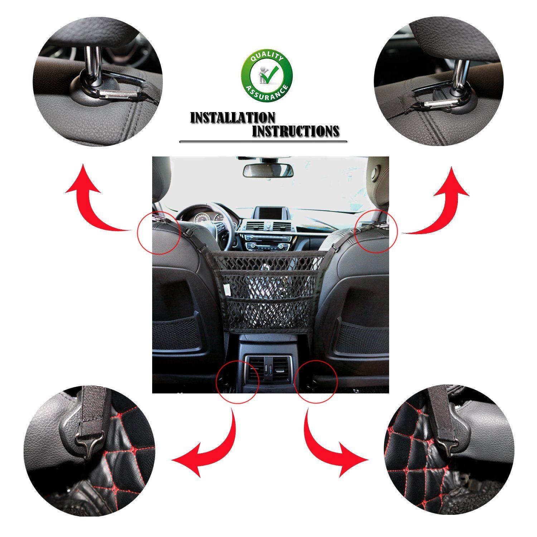 Car Net Pocket Handbag Holder Organizer Between  Seat Side Storage Mesh Bag qu