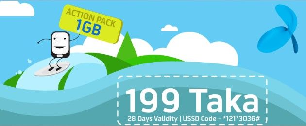Gp Action Pack 1gb Internet 199 Tk With 28 Days Validity Technewssources Com Internet Packages Day Internet