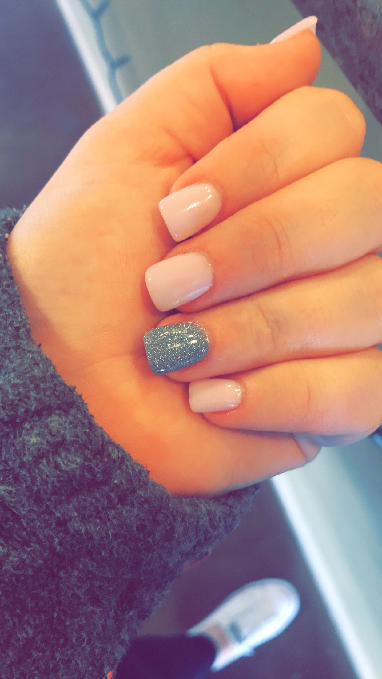 Light Pink And Sparkly Gray Fall Acrylic Nails Short Acrylic Nails Short Acrylic Nails Designs