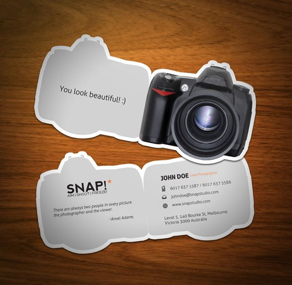 Amazing Die Cut Photographer Business Card Template With Custom Camera Folding Shape