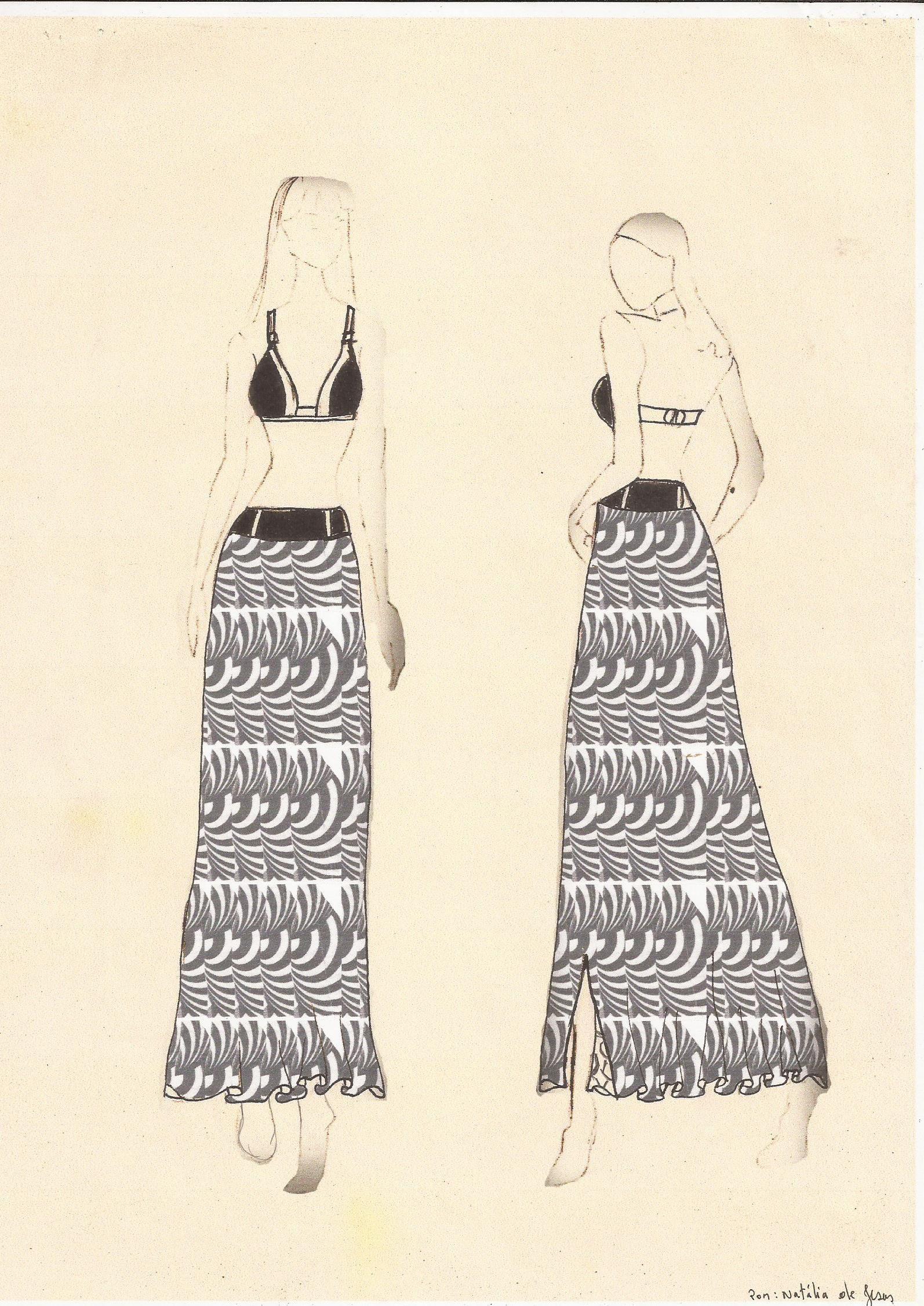 Biquine e saia longa com estampa bicolor