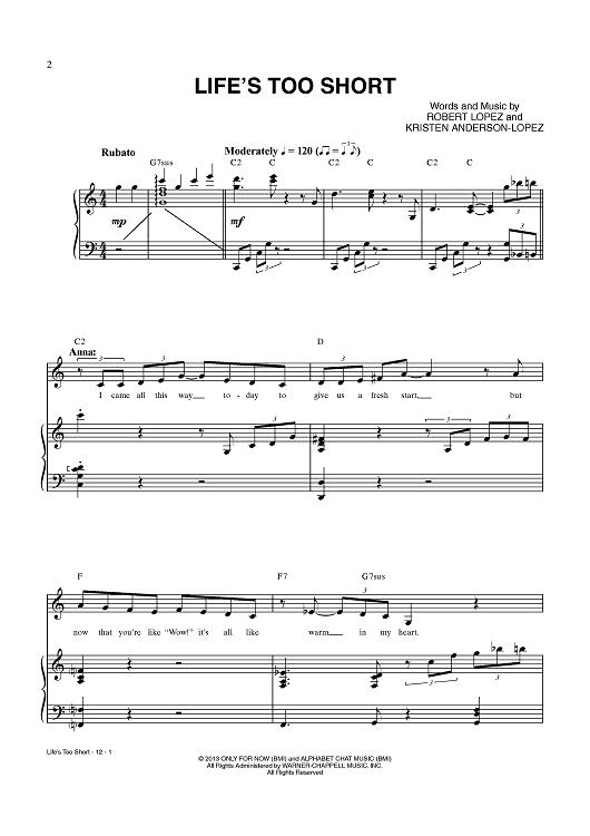 Lifes Too Short Sheet Music By Robert Lopez