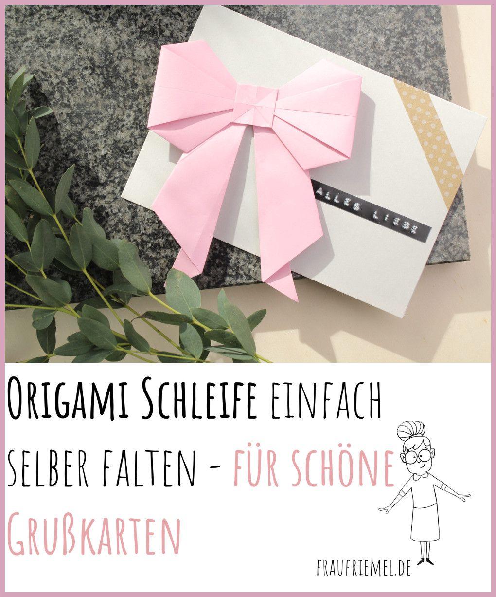 Origami Schleife falten für individuelle Grußkarten - Schritt-für-Schritt-Anleitung auf dem Blog! #origamianleitungen