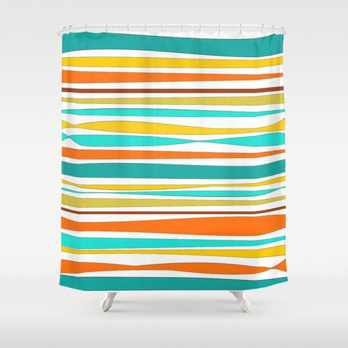 Shower Curtain Turquoise Teal Orange Yellow By DesignbyJuliaBars