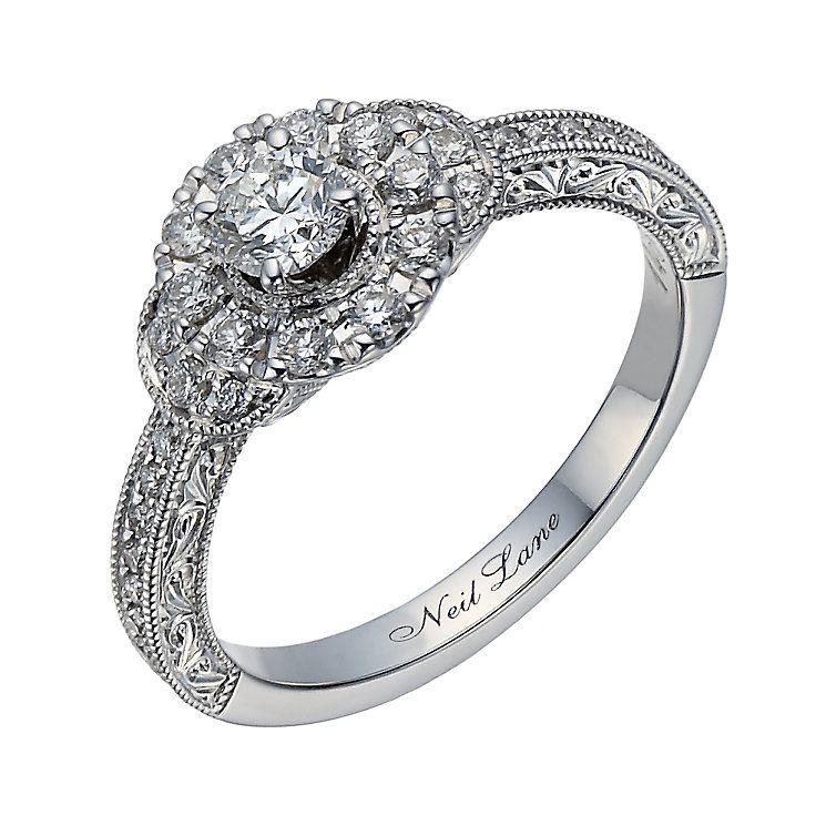 Neil Lane 14ct White Gold 056ct Diamond Halo Ring