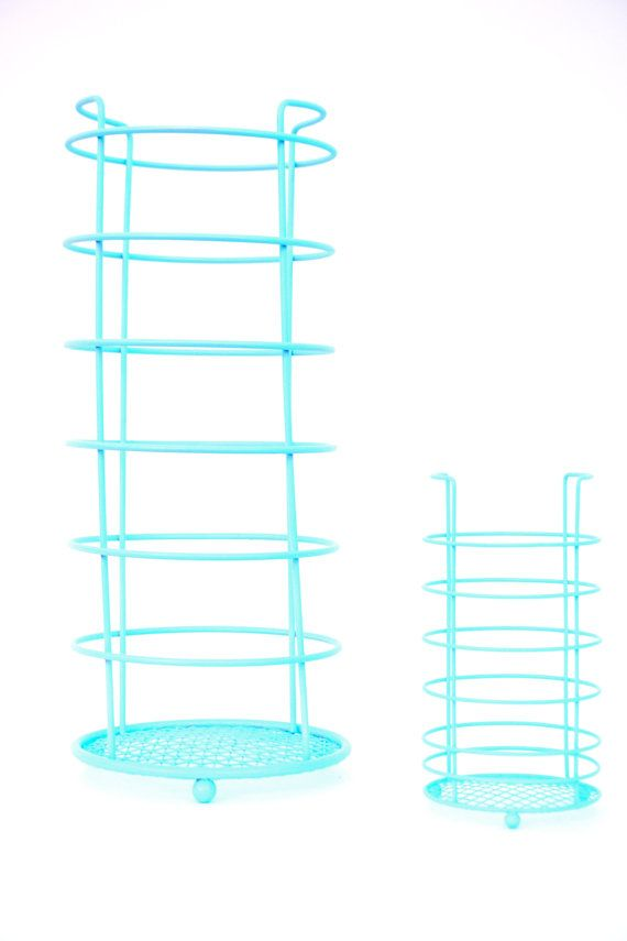 Mid-Century Modern Aqua Turquoise Metal Wire Tissue Paper Roll Stand ...
