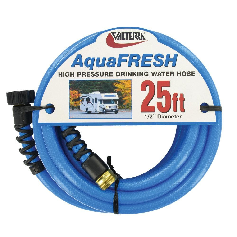 Valterra Aquafresh High Pressure Drinking Water Hose With Hose Savers 1 2 X 25 Blue Water Hose Drinking Water Aquafresh