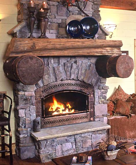 rustic cabin mountain retreat fireplace and mantle idea rh pinterest com Fireplace Mantels Over Brick Old Fireplace Mantels