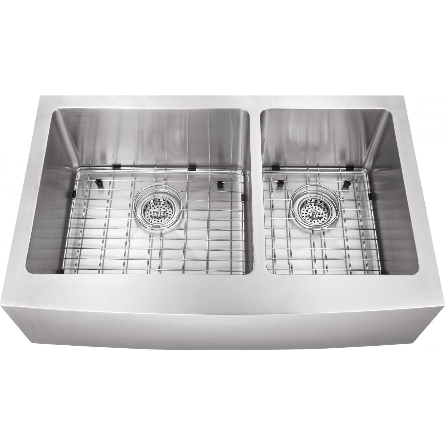 Platinum Sinks 32 X 20 16 Gauge 60 40 Double Bowl Stainless Steel Apron Undermount Sink With Strainer And Grid Double Bowl Kitchen Sink Undermount Stainless Steel Sink Sink