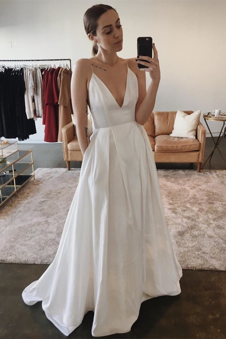 simple satin wedding dresses with pockets, modern deep v neck
