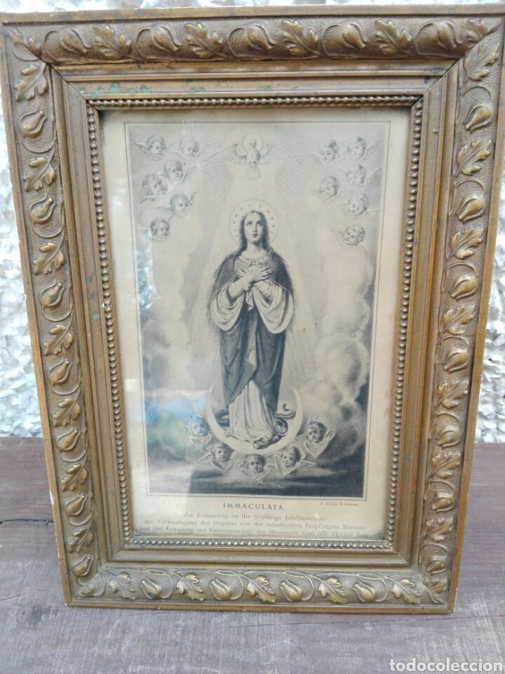 Marco cuadro antiguo con lamina antigua Virgen Inmaculada en aleman ...