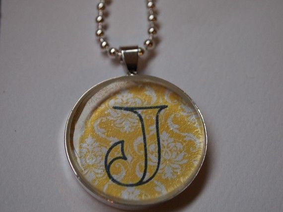 Glass Pendant personalized monogram handmade BLUE by tlgcrafts, $9.95
