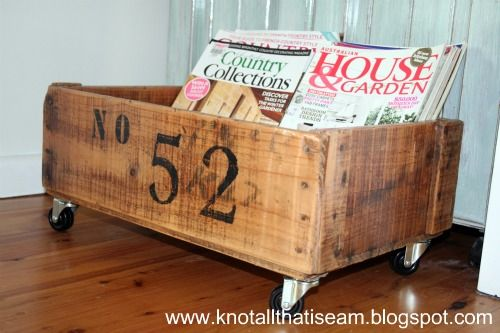 Numbered Crate on Wheels. Stain, paint, poly.