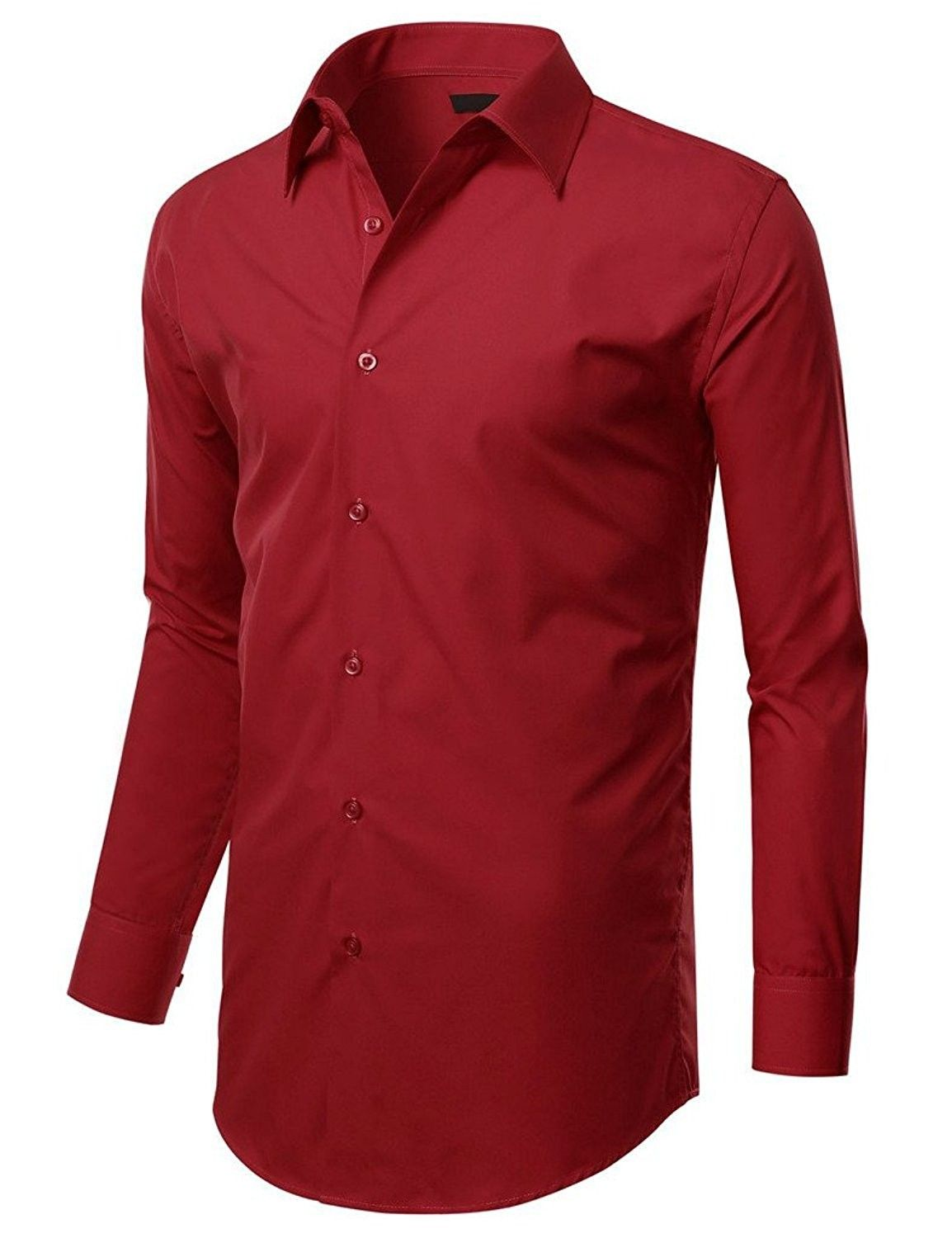 Mens Stretch Slim Fit Dress Shirt Small To Xx Large Burgundy