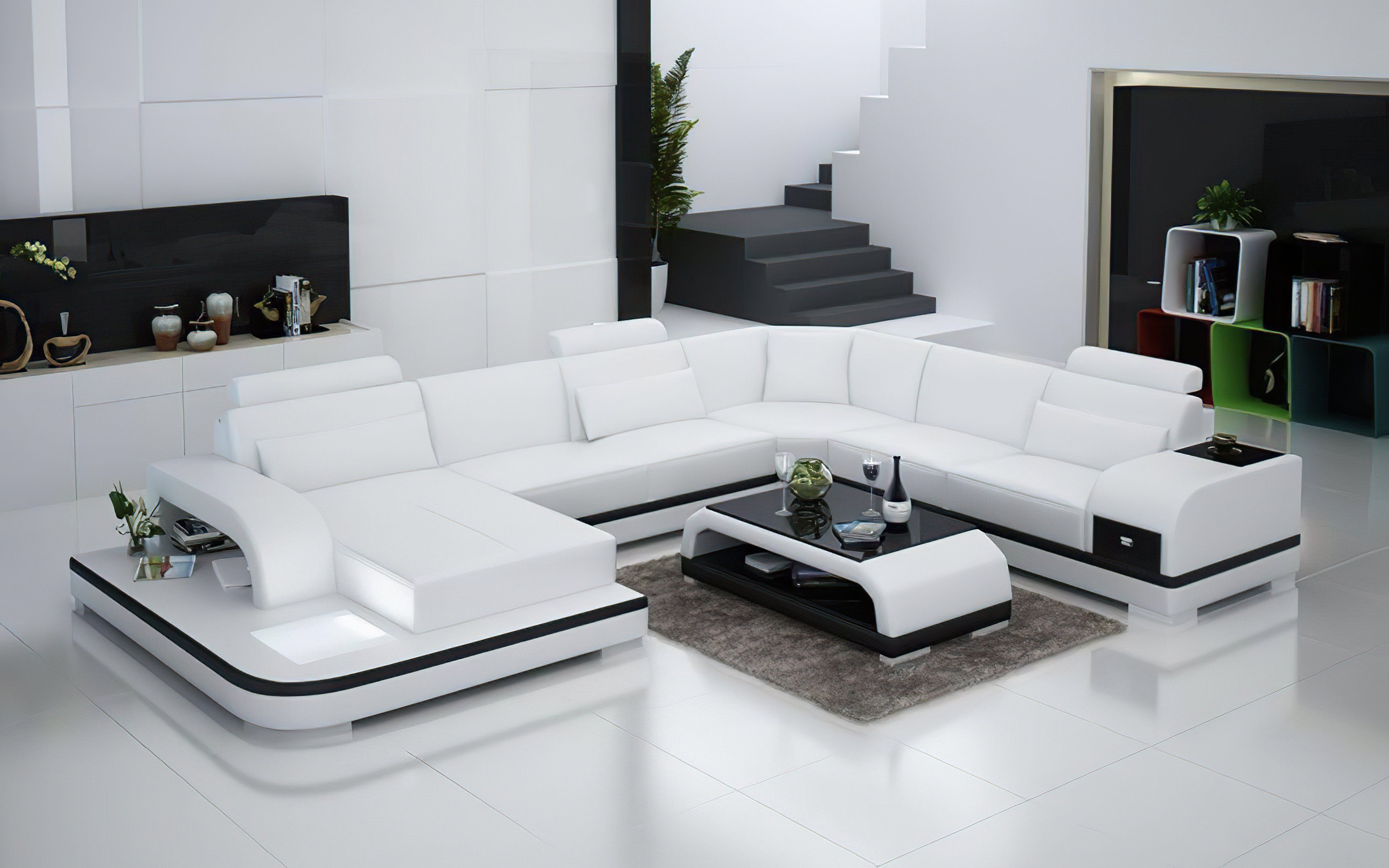 Everly Leather Sectional With Led Lights In 2021 Leather Sectional Modern Sofa Sectional Leather Corner Sofa