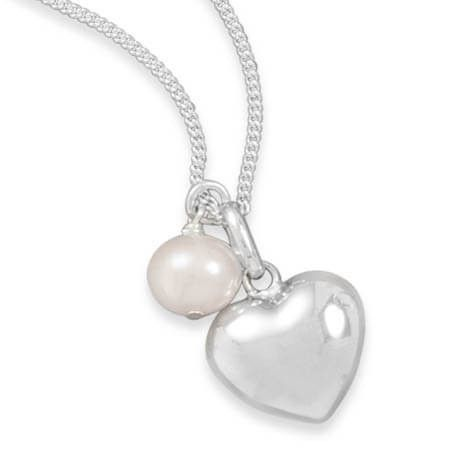 Multicharm Heart & Cultured Freshwater Pearl Necklace