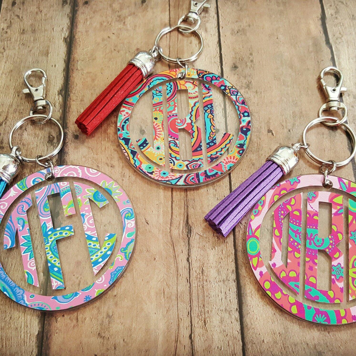2 Round Acrylic Keychain Tassel Keychain Personalized Keychain