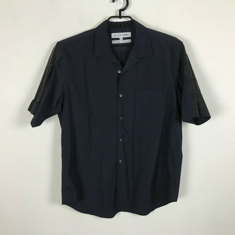 Commes des Garcons Mens Navy Blue Gray Sleeve Detail Cotton Shirt Short Sleeve M #CommesdesGarcons