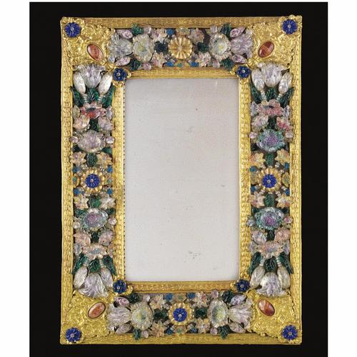 Beau miroir en pâte de verre de Murano et cuivre doré, travail ...