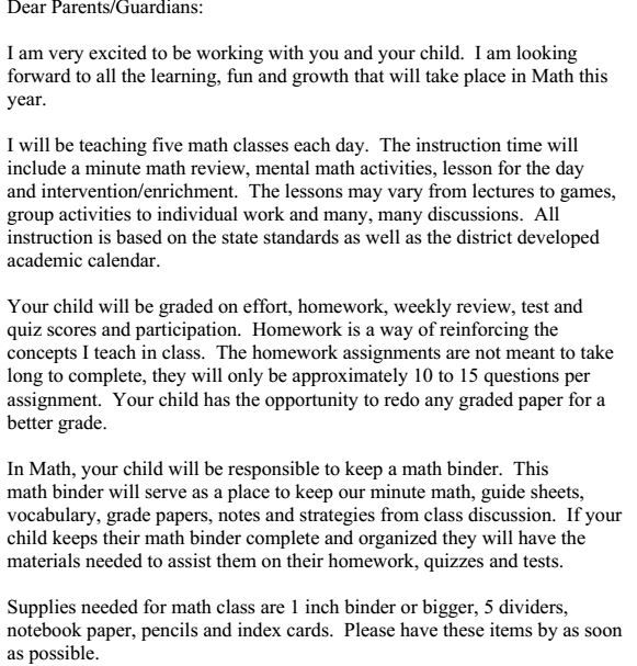Artifact 23 - A letter sent to parents at the beginning of the - assignment letter