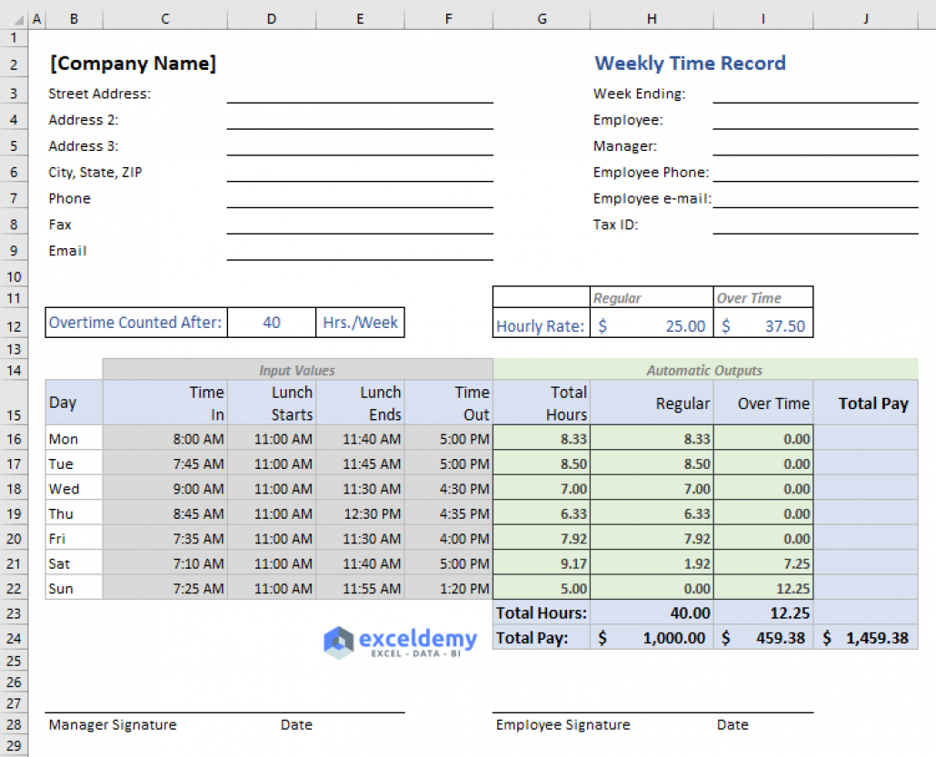 Excel Formula To Calculate Hours Worked And Overtime With Template Excel Formula Excel Shortcuts Excel
