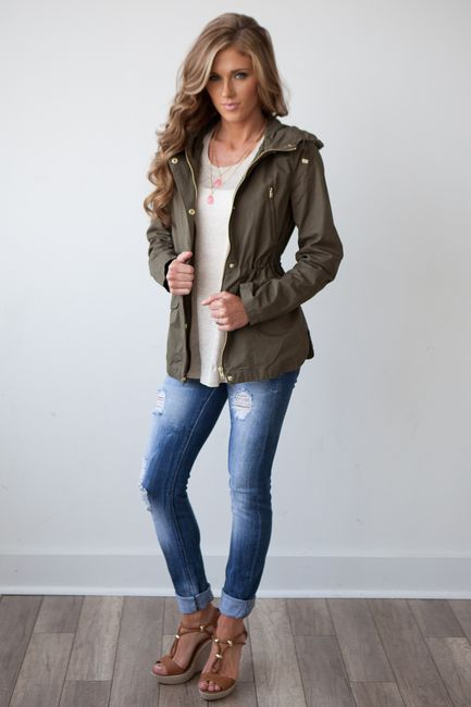 d5ec1a5277 Shop our cutest fall safari jacket complete with drawstring for cinched  waist look