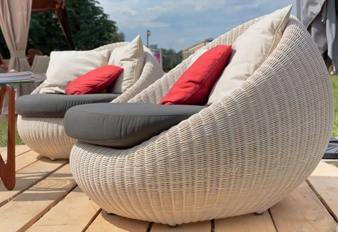 Outdoor Wicker Bowl Chairs With Cushions Weatherproof Outdoor Furniture Outdoor Chairs Outdoor Wicker