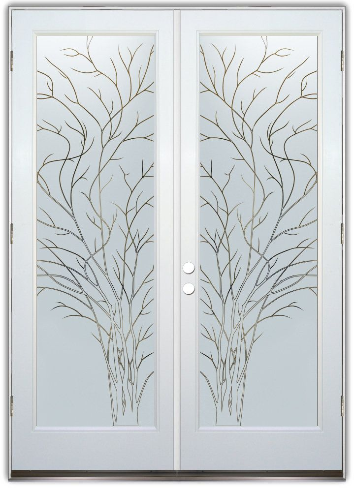Wispy Tree Frosted Pinstripe White Fiberglass Double Entry Doors Hand Crafted Sandblast Frosted A Etched Glass Door Glass Doors Interior Door Glass Design
