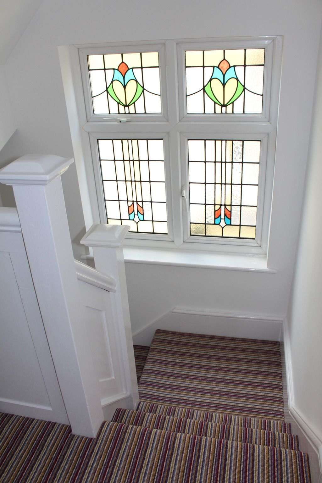 1930s Stained Glass Window Crucial Trading Stripy Carpet